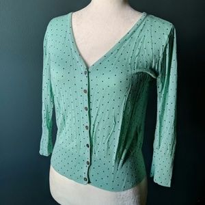 Francesca's mint and black polka dot cardigan, sm